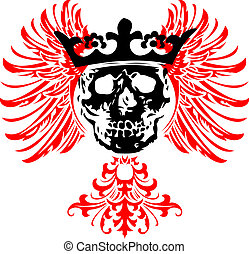 Black Crowned Skull on Red Wings. Vector Illustration.