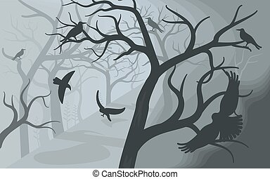 Black crows in a terrible foggy forest.