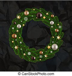 Black Crumpled Paper With Wreath