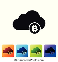 Black Cryptocurrency cloud mining icon isolated on white background. Blockchain technology, bitcoin, digital money market, cryptocoin wallet. Set icon in color square buttons. Vector Illustration