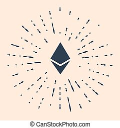 Black Cryptocurrency coin Ethereum ETH icon isolated on beige background. Physical bit coin. Digital currency. Altcoin symbol. Blockchain based secure crypto currency. Vector Illustration