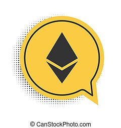 Black Cryptocurrency coin Ethereum ETH icon isolated on white background. Digital currency. Altcoin symbol. Blockchain based secure crypto currency. Yellow speech bubble symbol. Vector.