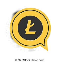 Black Cryptocurrency coin Litecoin LTC icon isolated on white background. Digital currency. Altcoin symbol. Blockchain based secure crypto currency. Yellow speech bubble symbol. Vector.