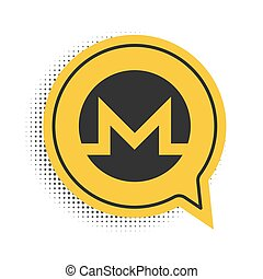 Black Cryptocurrency coin Monero XMR icon isolated on white background. Digital currency. Altcoin symbol. Blockchain based secure crypto currency. Yellow speech bubble symbol. Vector.