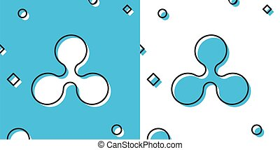 Black Cryptocurrency coin Ripple XRP icon isolated on blue and white background. Physical bit coin. Digital currency. Altcoin symbol. Blockchain based secure crypto currency. Vector Illustration