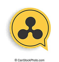 Black Cryptocurrency coin Ripple XRP icon isolated on white background. Digital currency. Altcoin symbol. Blockchain based secure crypto currency. Yellow speech bubble symbol. Vector.