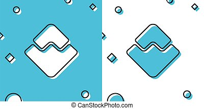 Black Cryptocurrency coin Waves icon isolated on blue and white background. Physical bit coin. Digital currency. Altcoin symbol. Blockchain based secure crypto currency. Vector Illustration