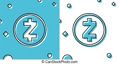 Black Cryptocurrency coin Zcash ZEC icon isolated on blue and white background. Physical bit coin. Digital currency. Altcoin symbol. Blockchain based secure crypto currency. Vector Illustration