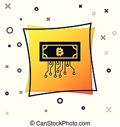 Black Cryptocurrency concept bitcoin in circle with microchip circuit icon isolated on white background. Blockchain technology, digital money market. Yellow square button. Vector Illustration