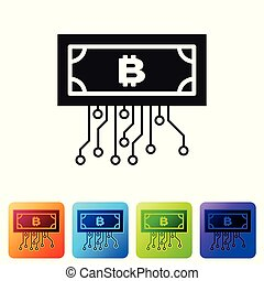 Black Cryptocurrency concept bitcoin in circle with microchip circuit icon on white background. Blockchain technology, digital money market. Set icon in color square buttons. Vector Illustration