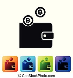 Black Cryptocurrency wallet icon isolated on white background. Wallet and bitcoin sign. Mining concept. Money, payment, cash, pay icon. Set icon in color square buttons. Vector Illustration
