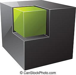 Black cube. Vector illustration
