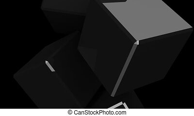 Black cubes abstract on black background. 3DCG render...
