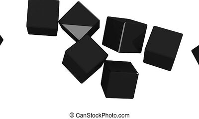 Black cubes abstract on white background