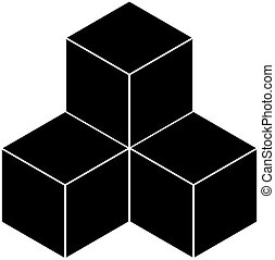 Black cubes on a white background