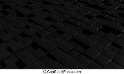Black cubic surface in motion. 3d rendering