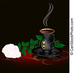 black cup and white rose