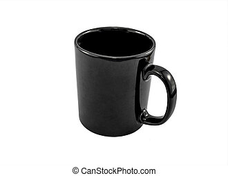 Black Cup Isolated on White Background,