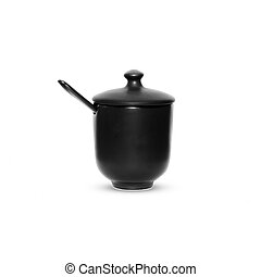 Black cup of coffee on white background.
