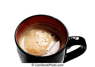 Black cup of coffee with foam on a white background