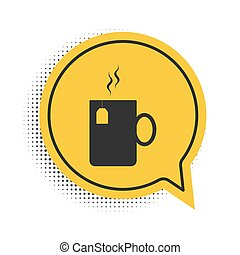 Black Cup of tea with tea bag icon isolated on white background. Yellow speech bubble symbol. Vector