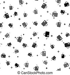 Black Cup of tea with tea bag icon isolated seamless pattern on white background. Vector Illustration