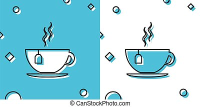 Black Cup with tea bag icon isolated on blue and white background. Random dynamic shapes. Vector Illustration
