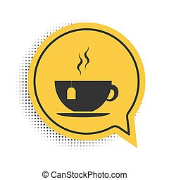 Black Cup with tea bag icon isolated on white background. Yellow speech bubble symbol. Vector