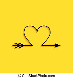 Black Cupid arrow heart, Valentines Day cards icon isolated ...