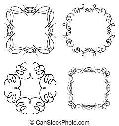 black curly frames - vector set