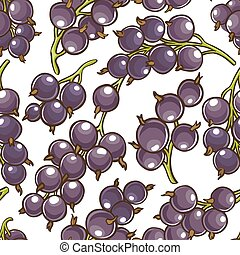 black currant berries vector pattern on white background