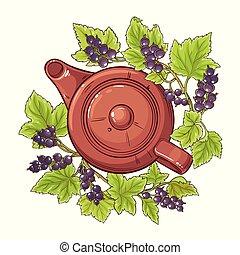 black currant tea illustration - black currant tea vector...