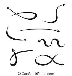 black curved arrows set