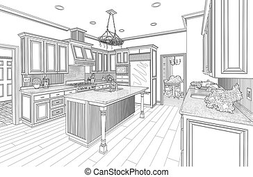 Black Custom Kitchen Design Drawing on White - Beautiful...