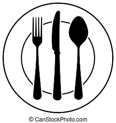 Black Cutlery Symbol - Plate fork spoon and knife isolated...