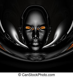 black cyber girl portrait