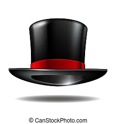 Black cylinder hat with red ribbon