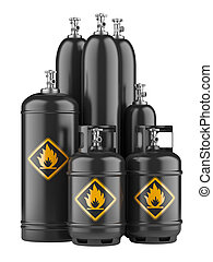 black cylinders with compressed gas