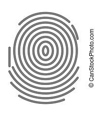 Black dactylogram, person identification mark for documents, personal identity symbol.