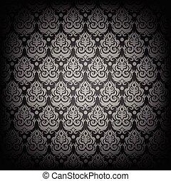 Black damask seamless pattern