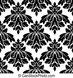 Black damask seamless pattern