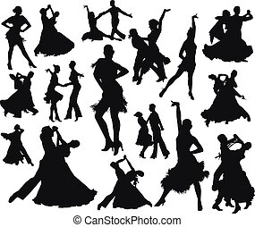 Black dancing pair isolated people silhouette set