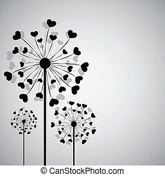Black dandelion with hearts - Background with dandelion and ...
