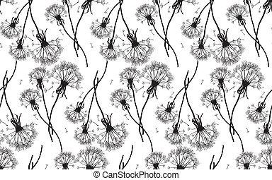 Black dandelions seamless vector