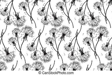Black dandelions seamless vector