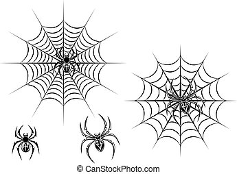 Black danger spiders on web for tattoo design