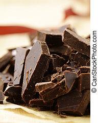black dark chocolate chopped  into pieces