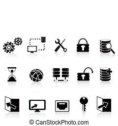 black , databank, technologie, pictogram