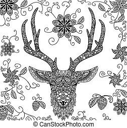 Vector illustration of a black dear pattern