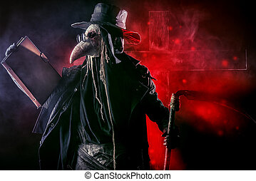 black death - Portrait of a terrible plague doctor with a...